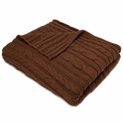 In2Green Organic Cotton Fisherman Cable Blanket in Cocoa