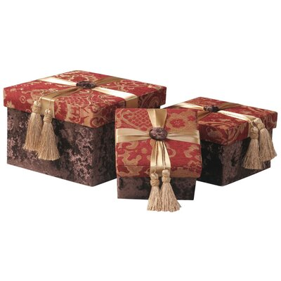 Jennifer Taylor Bacara Largest Storage Gift Boxes with Self Button, Ribbon and Tassels ( Set of 3 )