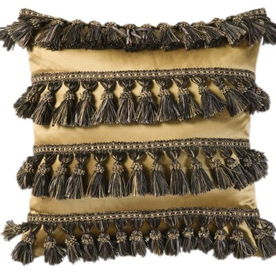 Jennifer Taylor Espresso Synthetic Pillow with Tassel Fringe