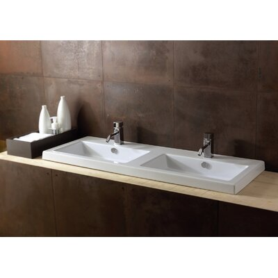 Ceramica Tecla by Nameeks Cangas Ceramic Double Bathroom Sink with Overflow