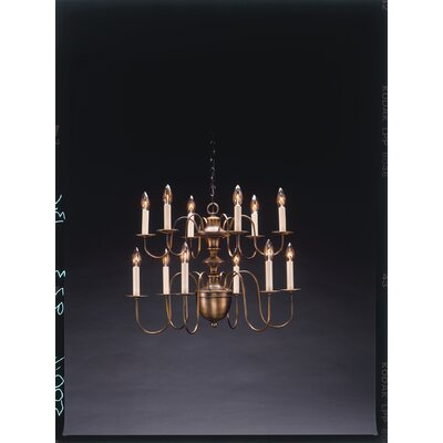 Northeast Lantern Chandelier 12 Light Candelabra Sockets Hanging 2 Tier Half Ball S-Arms Chandelier
