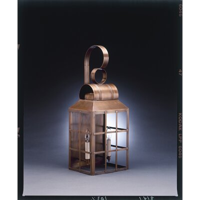 Northeast Lantern Lynn Medium Base Socket with Chimney Culvert Top H-Bars Wall Lantern
