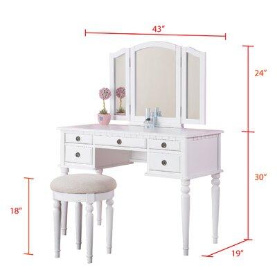 Bathroom Vanity Stool on Bobkona St  Croix Bedroom Vanity Set With Stool In White   Wayfair