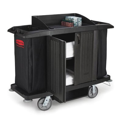 Rubbermaid Commercial Products Full-Size Housekeeping Cart with 3 Shelves in Black
