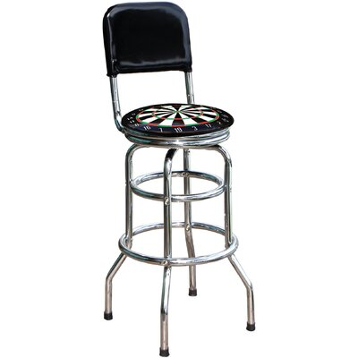 "On The Edge Marketing Dart Board 30.5"" Chrome Swivel Barstool"