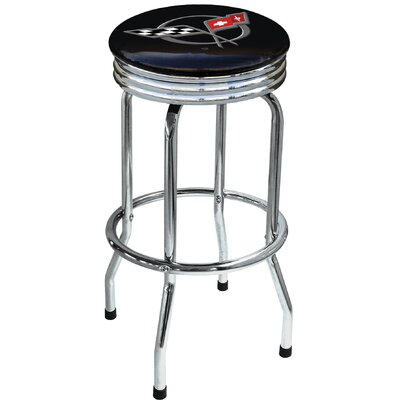 "On The Edge Marketing Chevrolet Corvette C5 29.5"" Chrome Swivel Barstool"