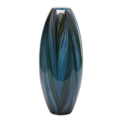 Peacock Feather Vase in Multi-Colored Blue