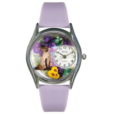 Whimsical Watches Women's Siamese Cat Lavender Leather and Silvertone Watch in Silver