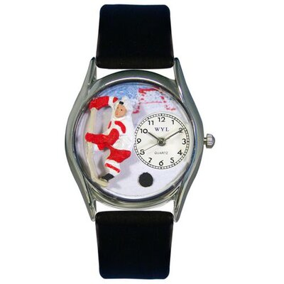 Whimsical Watches Women's Hockey Black Leather and Silvertone Watch in Silver