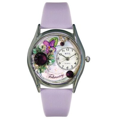Whimsical Watches Women's February Purple Leather and Silvertone Watch in Silver