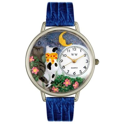 Whimsical Watches Unisex Cats Night Out Royal Blue Leather and Silvertone Watch in Silver