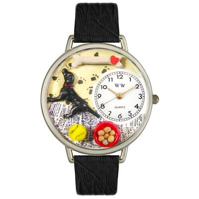 Unisex Labrador Retriever Black Skin Leather and Silvertone Watch in Silver