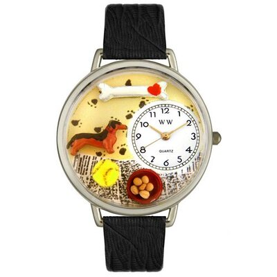 Unisex Dachshund Black Skin Leather and Silvertone Watch in Silver