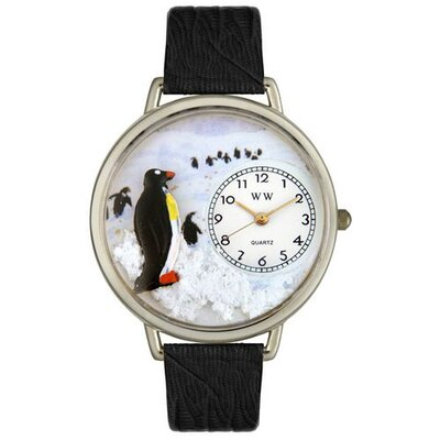 Unisex Penguin Black Skin Leather and Silvertone Watch in Silver