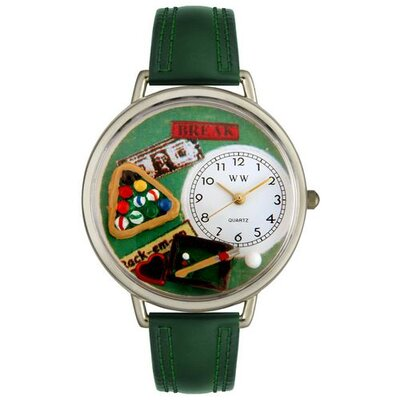 Unisex Billiards Hunter Green Leather and Silvertone Watch in Silver