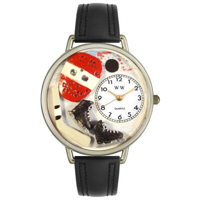 Unisex Hockey Black Padded Leather and Silvertone Watch in Silver