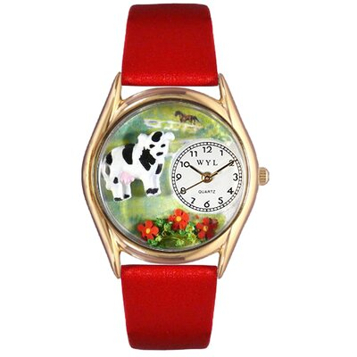 Women's Cow Black Leather and Gold Tone Watch