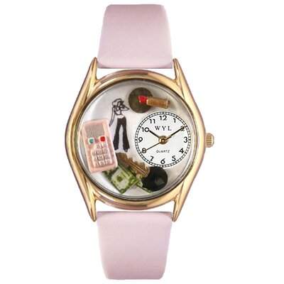 Women's Teen Girl Pink Leather and Gold Tone Watch