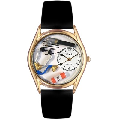 Women's Doctor Black Leather and Gold Tone Watch
