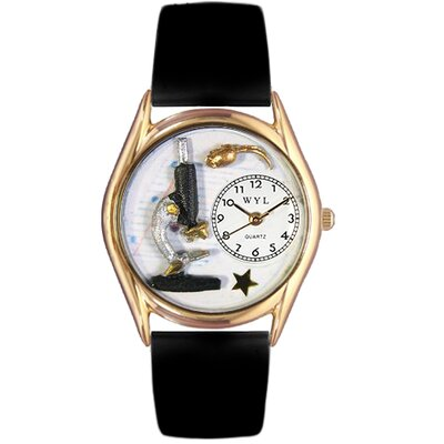 Women's Science Teacher Black Leather and Gold Tone Watch