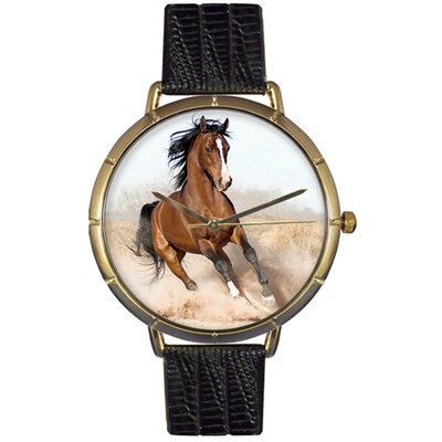 Whimsical Watches Unisex Arabian Horse Photo Watch with Black Leather