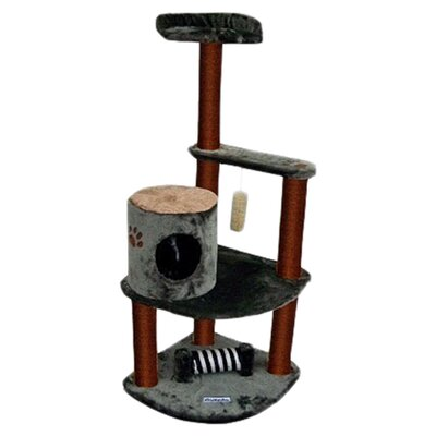 "Kitty Mansions 53"" Maple Cat Tree in Green and Brown"