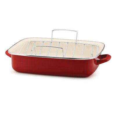 Rachael Ray Porcelain Enamel Open Roaster with V Shape Rack in Red