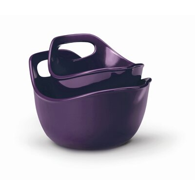Stoneware 2 Piece Mixing Bowl Set in Purple