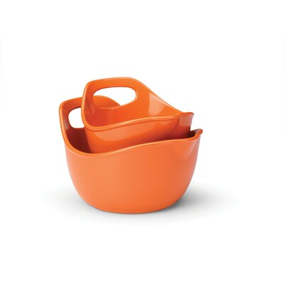 Rachael Ray Stoneware 2 Piece Mixing Bowl Set in Orange