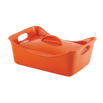 Rachael Ray Stoneware 3.5-Quart Covered Rectangle Casserole Pan