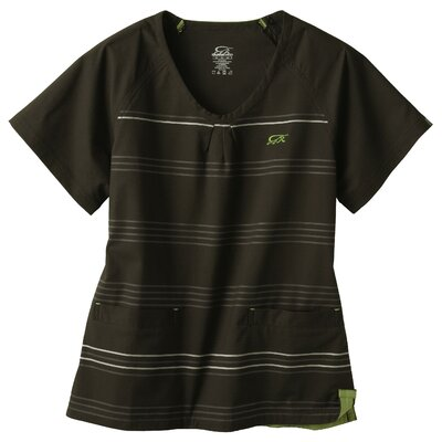 Iguana Med 5677 2-Pocket MedFlex II Stripe Top in Carbon Black
