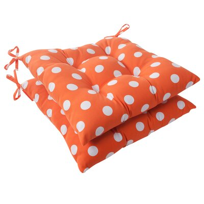 Pillow Perfect Polka Dot Tufted Seat Cushion (Set of 2)