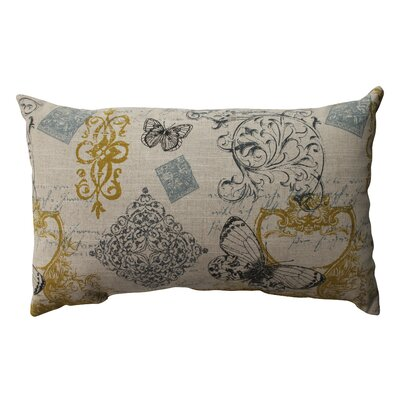 Butterfly Scroll Cotton Throw Pillow