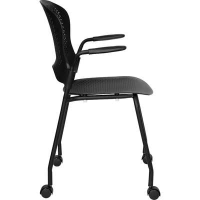 Flash Furniture Hercules Series Perforated Stacking Side Chair with Arms in Black
