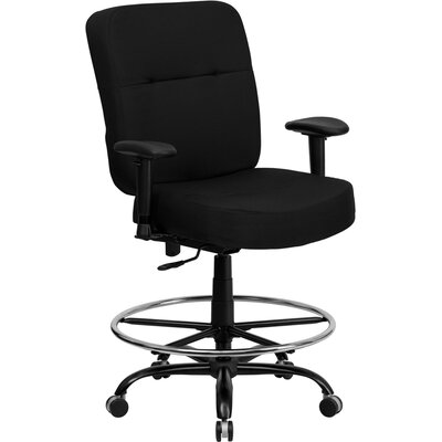 Flash Furniture Height Adjustable Hercules Series Big and Tall Drafting Stool with Arms and Extra Wide Seat