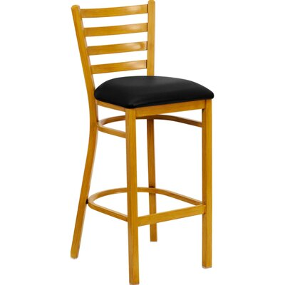 Flash Furniture Hercules Series Ladder Back Metal Restaurant Bar Stool with Vinyl Seat
