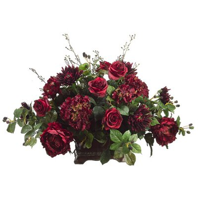 "Tori Home 23"" Rose, Mum, Hydrangea and Raspberry Plant Arrangement with Planter"