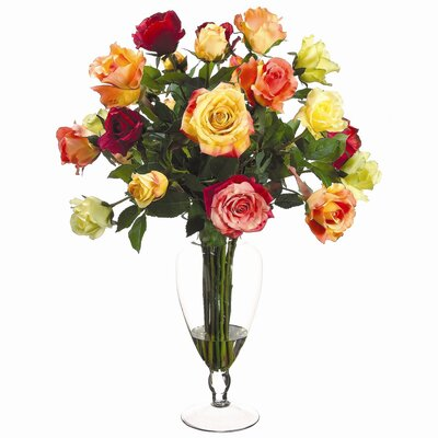 Tori Home Fresh Rose Mixed in Glass Vase