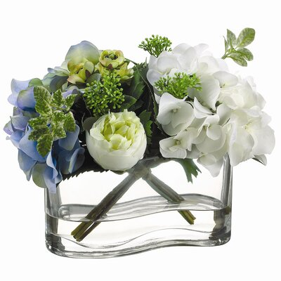 Tori Home Hydrangea, Ranunculus in Glass Vase