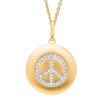 Silver on the Rocks Round Peace Sign Pendant in Yellow Gold