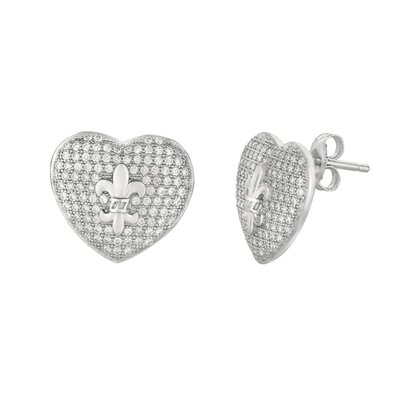 Silver on the Rocks Micro-Set Cubic Zirconium Heart with Fleur De Lis Shape Stud Earring