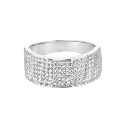 Sterling Silver Micro-Set 138 Cubic Zirconium Band Fashion Ring