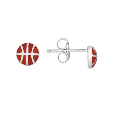 Sterling Silver and Enamel Basketball Earring