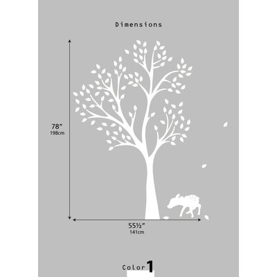 LittleLion Studio Monochromatic Fawn Tree Wall Decal