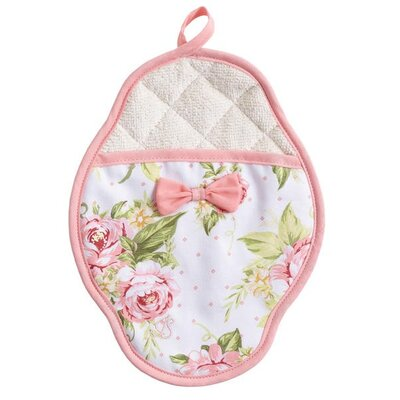 Pink Cottage Rose Scalloped Pot Mitt