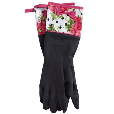 Jessie Steele Dotted Parlor Floral Rubber Gloves with Bow