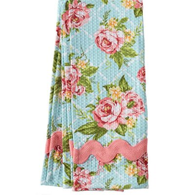 Jessie Steele Cottage Kitchen Rose Waffle Ric Rac Towel (Set of 2)