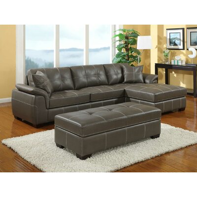 Emerald Home Furnishings Manhattan Bonded Leather Loveseat Sectional
