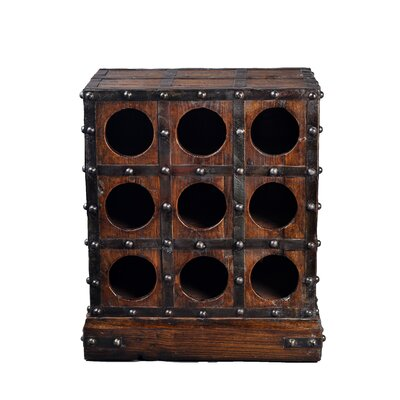 Antique Revival 9 Bottle Studded Wooden Wine Rack