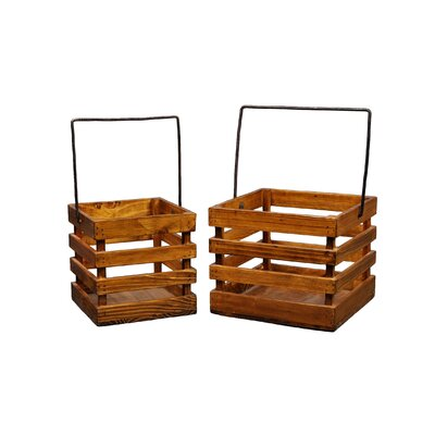 Antique Revival Square Caddy Planters (Set of 2)